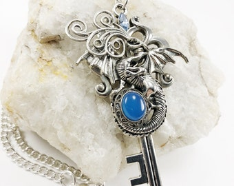 Dragon Key Pendant - Steampunk Key Pendant - Dragon Key Necklace - Keys - Key Pendant - Fantasy Key