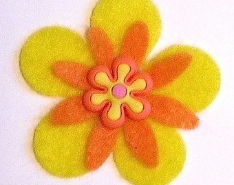 Interchangeable Small Funky Felt Flowers