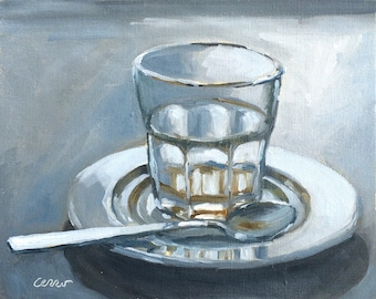 Break Times Over, Latte, Oil Painting, Original Painting, Coffee, Daily Painter