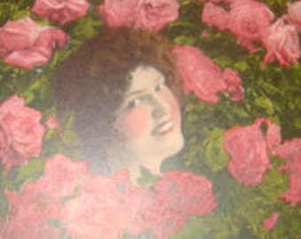 SALE Vintage Floral Postcard (Pretty Lady and Roses) #2