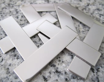 """3/8""""x1 1/2"""" (10MMx38MM) Rectangle Stamping Blanks, 22g Stainless Steel - AWESOME Silver Alternative RT03-12"""