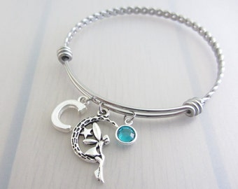 Fairy Charm Stainless Steel Bangle, Birthstone Initial Bangle, Personalised Silver Letter Bracelet, Fantasy Bangle, Fantasy Gift, Fairy Gift