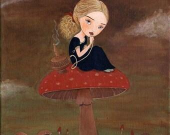 Blue Caterpillar Print 8x10 - Alice In Wonderland Art, Girls Room Art Decor, Girl Art Print, Children's Art, Poster, Art for Kids, Cute