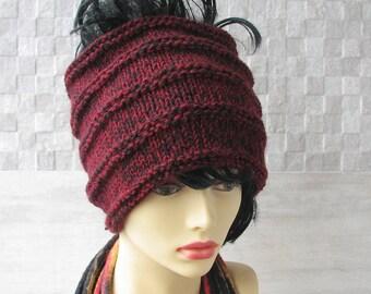 Knit Accessories Dreadlock Hat, Tube Wrap, Headwear, Headdress, Women Boho Dreads Tube Hat Wide Knit Headband