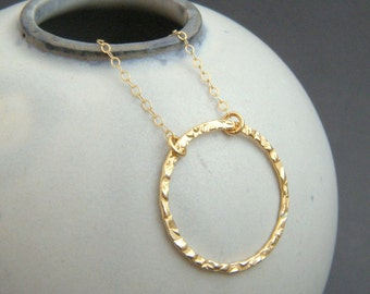 """large gold ring necklace. textured open circle. 14k gold filled. 14 k simple everyday jewelry. dainty delicate pendant gift for her 1"""""""