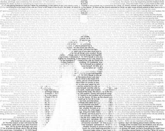 Unique gift made of image and words: Personalized custom Portrait filled with type - DIGITAL DOWNLOAD