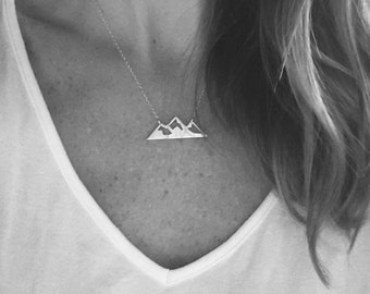 Mountain necklace; gold or silver mountain range necklace; the mountains are calling; mountain jewelry; Nature jewelry
