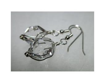 """ww1274 - 1/2""""+ Wirewrap HERKIMER DIAMOND EARRINGS - Argentium Sterling Silver"""