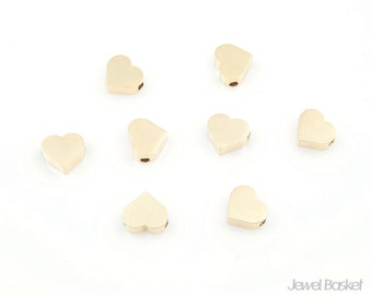 8pcs - Metallic Heart Bead in Matte Gold Heart / 16k plated gold / gold charm / charm / heart charm / brass / 6mm x 7mm / PMG002-B