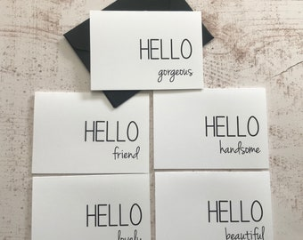 Mini Hello Cards | Greeting Cards | 2.5x 3.5 inch | All Occasion Cards | Gift Card Holders | Gift Enclosures | Set of 5