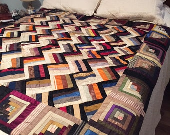 Spectacular victorian silk and satin quilt