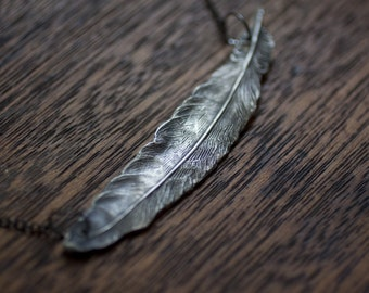 Plume - Large Feather Necklace - Statement Necklace - Silver Feather Necklace - Long Necklace - Sterling Silver Feather