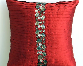 Decorative Throw Pillow Covers Accent Pillows Couch 20x20 Inch Pillow Cover Silk Dupioni Rhinestones Embroidered Bedding -Deep Red Crystals