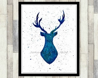 Deer Silhouette Decor, ORIGINAL Watercolour Painting, Antlers, Deer Head, Nursery Decor, Galaxy Wall Art