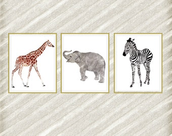 "Safari Nursery prints: ""NURSERY DIGITAL PRINT"" Animal digital Art  Wall Decor Baby room prints Nursery Print Set  Elephant Giraffe Zebra"