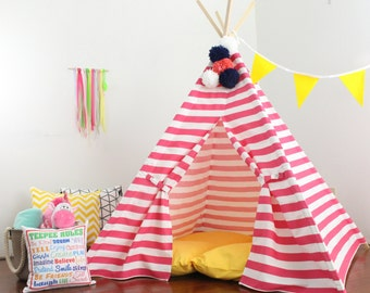Teepee Play Tent, Pink Stripe 2 Sizes Available, Can Include Window, Ready to Ship, Ships Fully Assembled