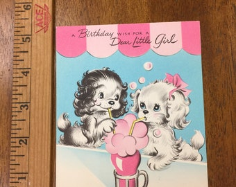 Vintage Birthday Card for a Little Girl American Greeting Card Ephemera. Collage, Card Making, Scrapbooking, Paper Craft