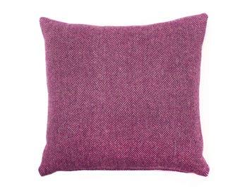 Harris Tweed Cushion ~ Harris Tweed ~ Harris Tweed Pillow ~ Raspberry Pink Herringbone ~ Herringbone ~ Pink Tweed ~ Pink Harris Tweed