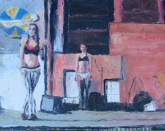 BREW HA-HA original palette knife oil painting of 2 belly dancers performing at a Pittsburgh brewery