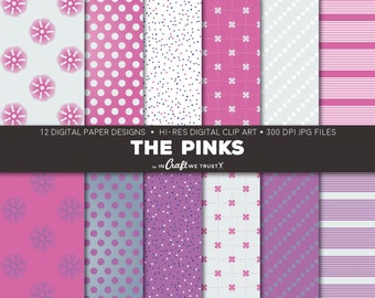 """The Pinks Digital Papers • 12 Hi-Res Print Designs • 12"""" x 12"""" Backgrounds• Commercial & Personal Use • Instant Art Downloads"""