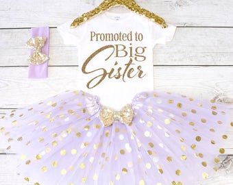 Promoted to Big Sister. Pregnancy Announcement Shirt. Big Sister Announcement. Promoted to Big. Big Sister Top. S24. PGA (LAVENDER)