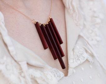 Red Heart Wood Fringe Necklace