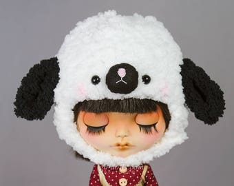 """10-11"""" Blythe: Hampshire sheep knitted hat"""