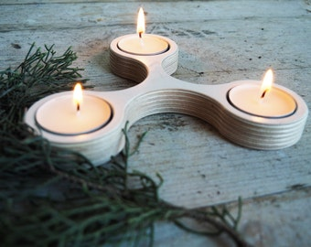 Wooden Tea Light Candle Holder White - Candle Holder Wood - Tea light Candle Holder - Plywood Birch - Modular Candle Holder