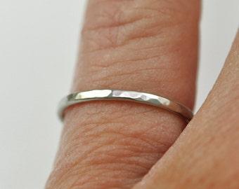 Skinny White Gold Ring, Narrow, 1mm, 14K Palladium White Gold, Hammered Texture, Sea Babe Jewelry