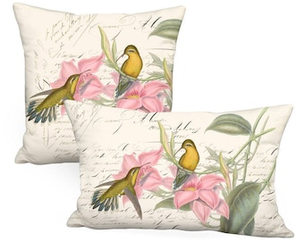 Golden Hummingbirds Pink Flower on Ivory Crème Pillow Cover - Pillow - Square or Rectangular Lumbar Decorative Bird Pillow