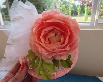 Pale Pink Peony Fascinator