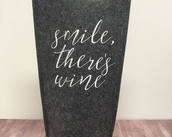 Smile theres wine gift bag, wine tote, wine gift bag, hostess gift, birthday gift, wine lover gift, gift for wine lover, gift for her