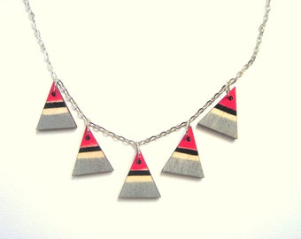 Tribal Geometric Necklace, Wood Triangles Necklace,Bunting Necklace,Geometric Jewelry