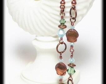 Long Beach...Handmade Jewelry Earrings Beaded Lightweight Long Asymmetrical Antique Copper Crystal Aqua Seafoam Sea Shell Seashell Beach