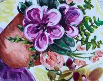 Purple bouquet in acrylic