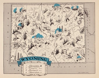 30's Vintage WYOMING Picture Map Pictorial State Cartoon Map Print Travel Map Gallery Wall Art Library Office Decor  Birthday Wedding Gift