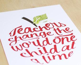 Teacher Gift, Teacher Appreciation Gift, 3D Teacher Wall Art, Classroom Decor, Teacher Christmas Gift, Personalized Gift for Teacher