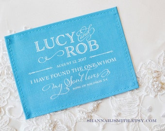 Something Blue Wedding Dress Label •  Personalized • I Have Found the One Whom My Soul Loves • Song of Solomon