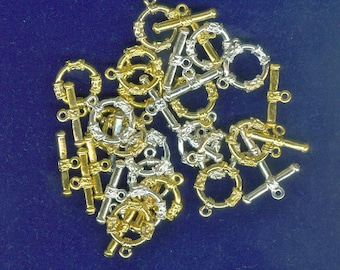 Lightweight Toggle Clasps, Set 18 Gold and Silver Plated Toggle Clasps Fasteners, Connectors