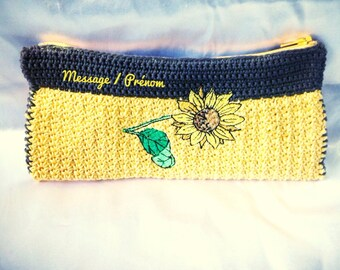 Case / pouch, sunflower yellow and Brown cotton