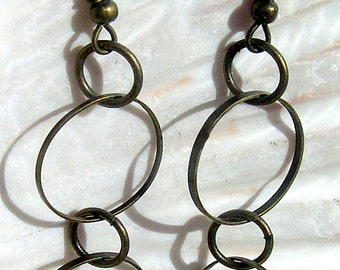 Antique Brass Earrings, Round Thin Hoops, Jewelry