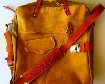 Leather Messenger Bag,-Double compartimented, Brushed Genuine Leather Bag, Genuine Leather Handmade Bag, Laptop bag,Tote Bag