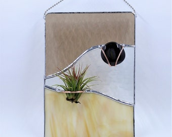 Stained glass air plant holder handcrafted by Bello Glass indoor gardening wall art gift for mom birthday bridesmaid