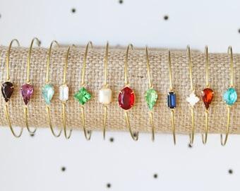 Birthstone Bracelet, Birthstone Jewelry, Stackable Bangle Bracelet, Gem Stone, Stones in Settings Bracelet, Bezel Bangle