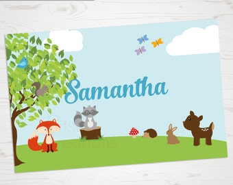 Children's Placemat - Woodland Animals Placemat - Personalized with Child's Name - Custom Placemat