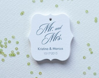Mr and Mrs Wedding Tags, Personalized Wedding Gift Tags, Thank You Tags For Weddings, Elegant wedding tags, Set of 25