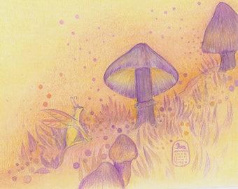Fairy cat and mushrooms, new cat art print