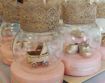 Set of 3 or 4 Lace Crown Princess / Prince Baby Shower Centerpieces