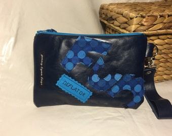 Navy blue leather Fun-Deflator wristlet