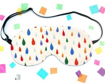 Rainbow Rain Sleep Mask, Eye Mask, Colourful Gift, Raindrops, handmade in England